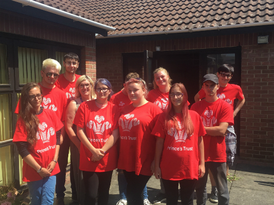 The Princes Trust team who worked in the blazing heat this week to tidy up the garden and courtyard areas used by patients and their families, at the Alan Hudson Day Treatment Centre and North Cambs Hospital.