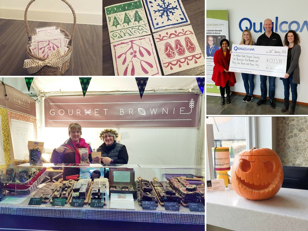 Those taking on the Accumulator Challenge for Arthur Rank Hospice design their own money-making plans, to try and generate a fortune from £50. Examples from last year's teams include (from left top, clockwise): card making and sales by Studio 24; over £1500 raised by Qualcomm from a range of activities including a Halloween fancy dress competition; pumpkin carving and quick by Quy Mill Hotel & Spa; and packs of chocolate made especially by Gourmet Brownie to raise funds for the Hospice.